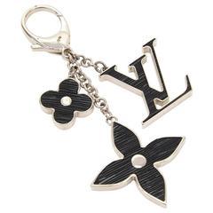 Louis Vuitton Fleur d'Epi Black x Silver Tone Key Chain / Bag Charm