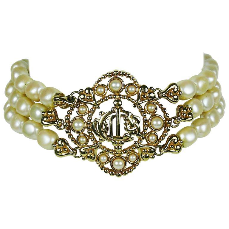 Christian Dior Vintage Pearl Logo Choker Necklace 1