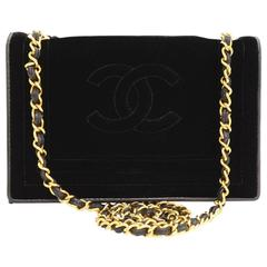 Chanel Black Velvet Vintage Classic Single Flap Bag 1980s
