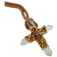 Christian Lacroix Vintage Rare Goossens Rock Crystal Cross Pendant Necklace