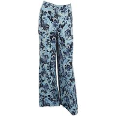 Emilio Pucci Blue Printed Silk Pants - 6