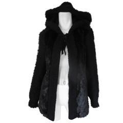 hooded knitted/ black mink fur vest