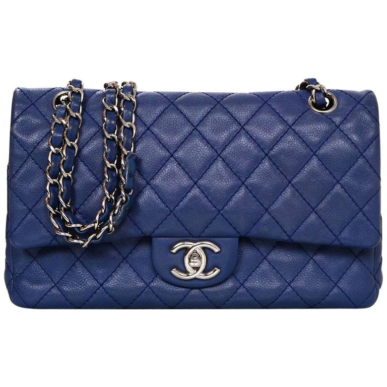 Chanel Blue Caviar Leather 10 Classic Medium Double Flap Bag For