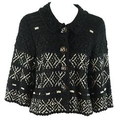 Oscar de la Renta Black and Ivory Silk Crocheted Jacket - L