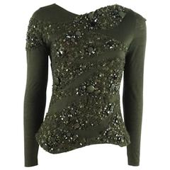 Akris Army Green Cashmere Heavily Beaded Top - 8