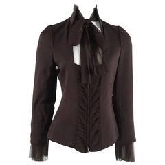 YSL Rive Gauche Brown Silk Chiffon Long Sleeve Blouse - 40