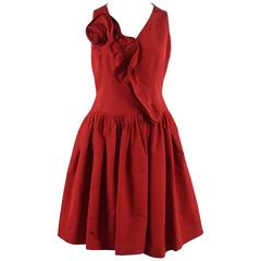 Oscar de la Renta Red Silk Taffeta Dress with Rose Detail - 6