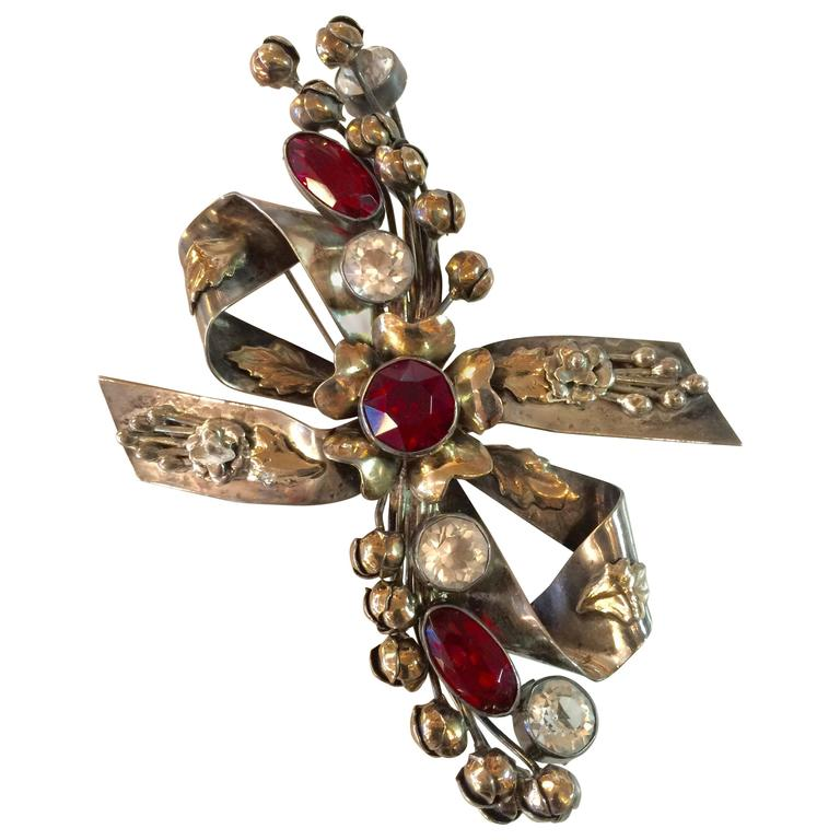 1940s HOBE Sterling and Gold Wash Faux Ruby Diamond Floral Bow Pin/Brooch For Sale