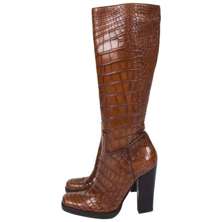 prada alligator croco leather boots light brown for sale