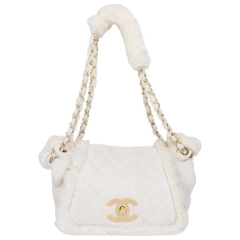 Chanel Leather & Shearling Quilted Bag - off-white For Sale
