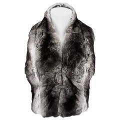 Valentino Chinchilla Fur Scarf - black/gray
