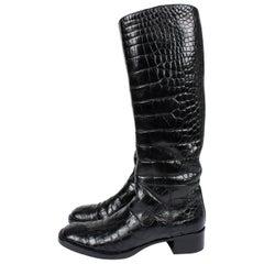 Prada Boots Crocodile Leather - black
