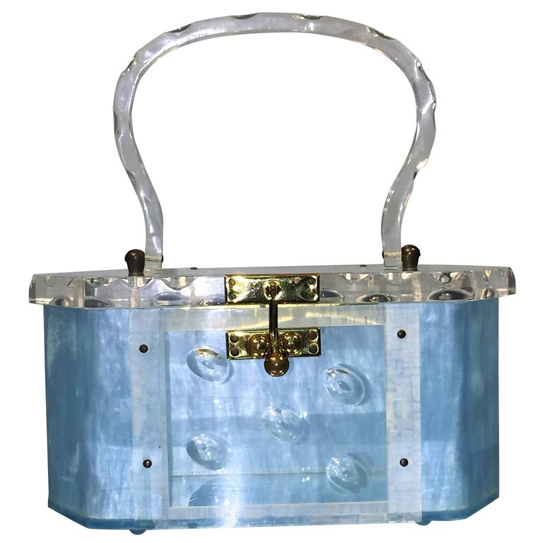 Rare Aqua Blue 1950 S Lucite Handbag At 1stdibs