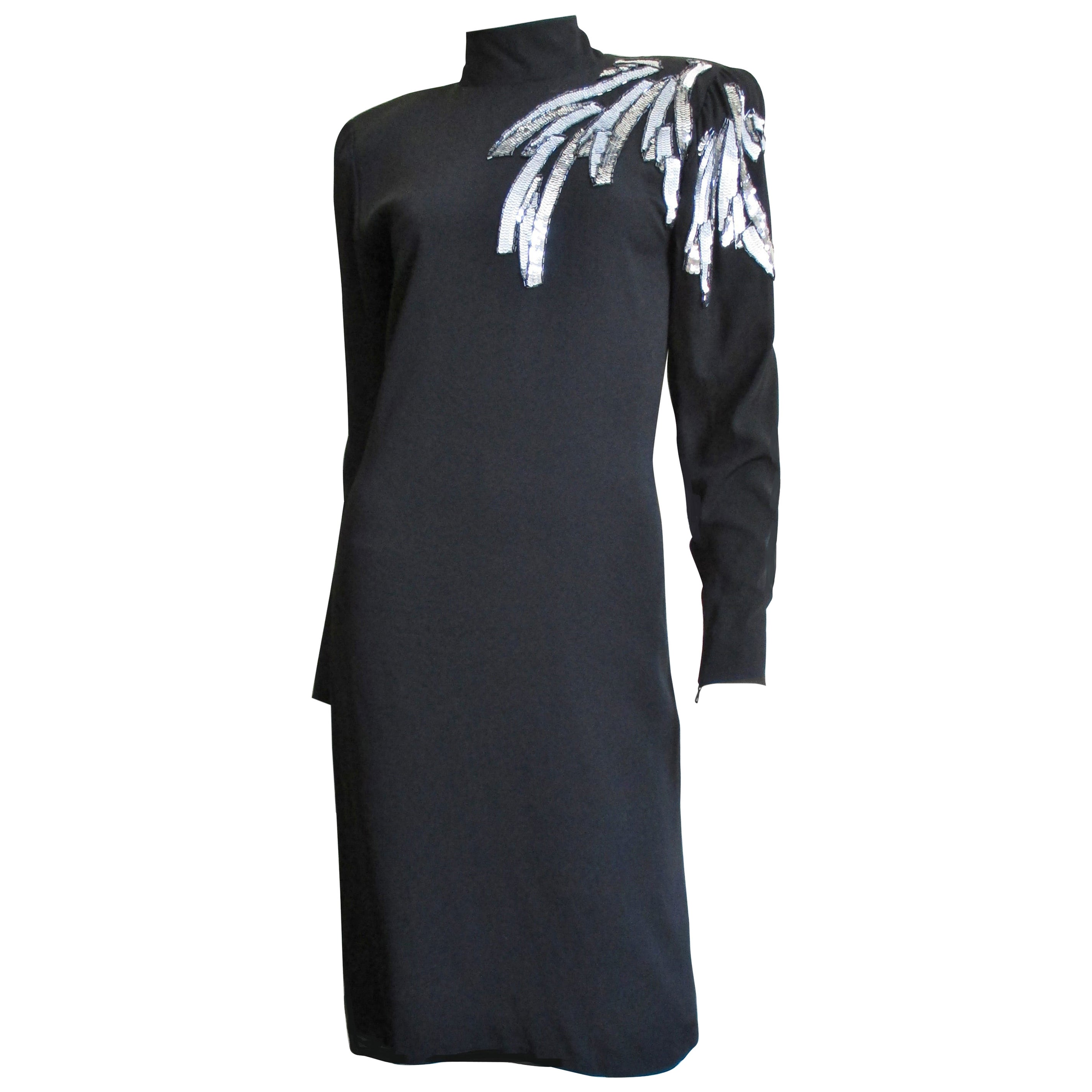 Ted Lapidus Haute Couture Dress with Beaded Shoulder 1980s