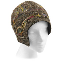 COUTURE c.1920s Metallic Gold Embroidered Sequin Silk Flapper Cloche Evening Hat