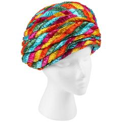 CHRISTIAN DIOR Chapeaux c.1960's Multicolor Straw Pleated Beehive Turban Hat