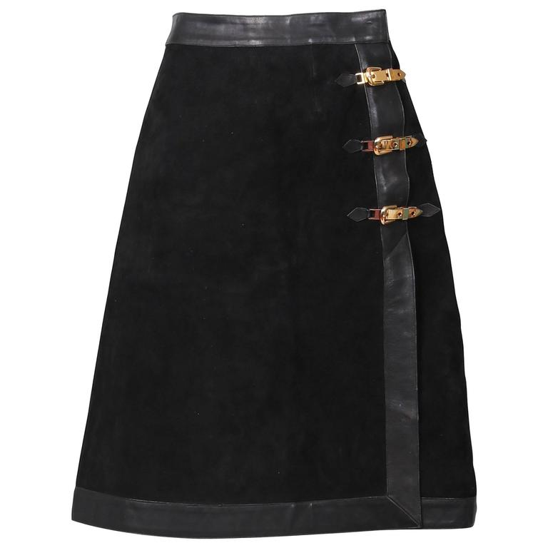 1970's Gucci Black Suede Skirt W/Leather Trim and Gold tone Buckle ...