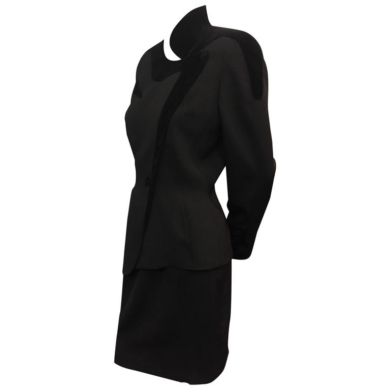 1980s Thierry Mugler Iconic Wasp-Waist Black Wool and Velvet Asymmetrical Suit