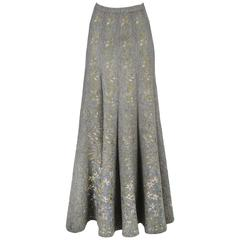 Alaia Iconic Grey Floral Instarsia Skirt 1990