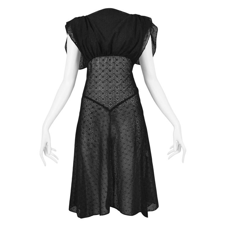 Alaia Black Eyelet Cotton Lace Summer Dress 2007