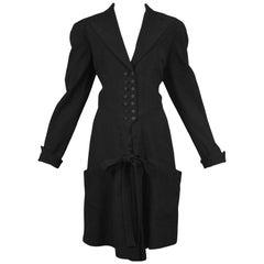Vintage Alaia Black Button Front Suit Romper