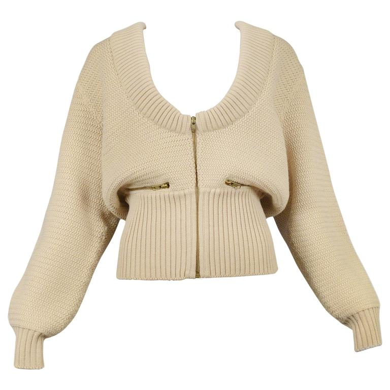 Alaia Off White Zipper Cardigan 1985 For Sale
