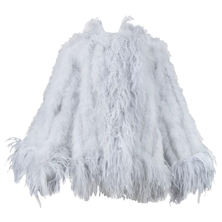 c26afc23e9b Yves Saint Laurent Silver Grey Feather Coat at 1stdibs