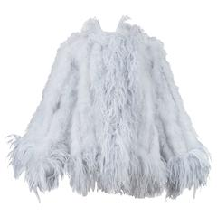Yves Saint Laurent Silver Grey Feather Coat