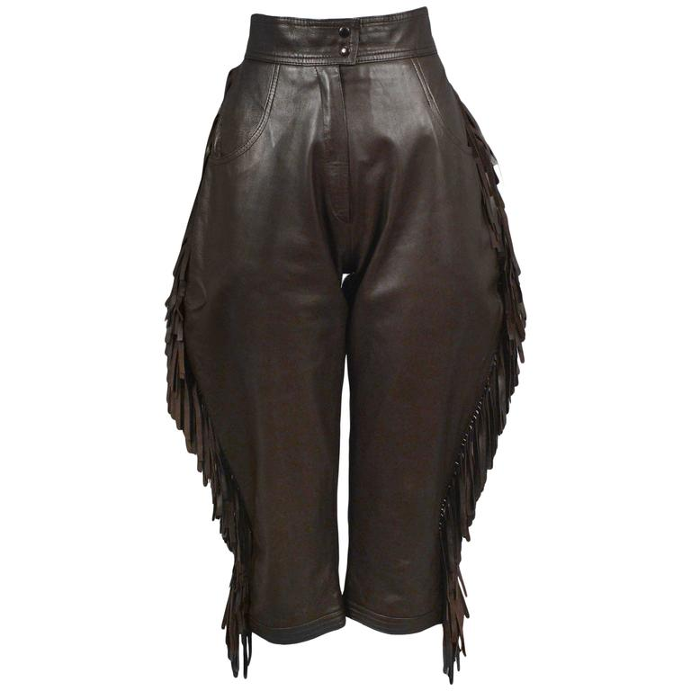 Yves Saint Laurent Brown Leather Fringe Knickers