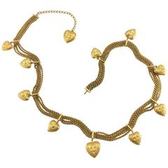 Chanel Gold-Tone Baroque-Esque Heart Belt / Necklace - 1996