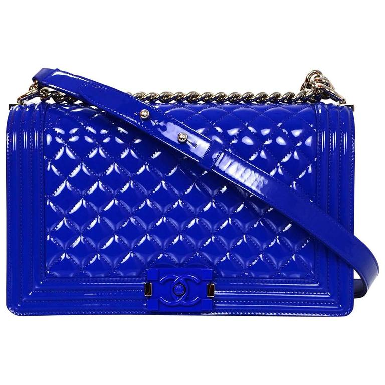Chanel Blue Patent Leather & Plexi Glass New Medium Boy Bag 1