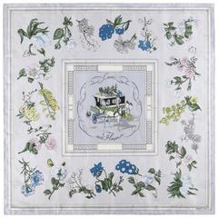 "HERMES c.1952 Hugo Grygkar ""Quai aux Fleur"" Floral Equestrian Print Silk Scarf"