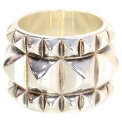 Hermes Sterling Silver Espionne Studded Ring Sz 7