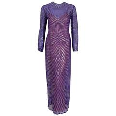 1977 Halston Purple Illusion Sequin Silk Chiffon Long-Sleeve Evening Dress Gown