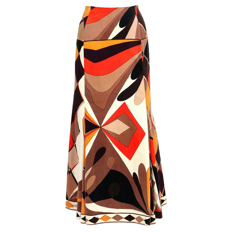 EMILIO PUCCI c.1960's Vogue Pattern Brown Signature Print Velvet Maxi Skirt 1
