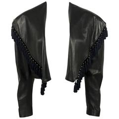 Gianni Versace Black Leather Jacket With Tassel Embellished Collar - 1980s