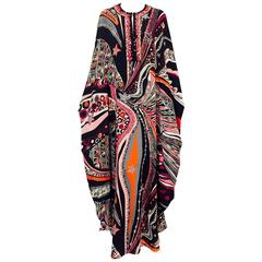 NWT Emilio Pucci Abstract Print Silk Cady Caftan With Embellishments