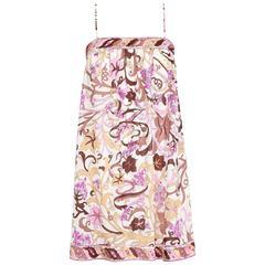 EMILIO PUCCI c.1960's Formfit Rogers Purple Grapevine Print Slip Mini Dress