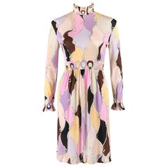 EMILIO PUCCI c.1960's Multicolor Pastel Abstract Diamond Print Mock Neck Dress