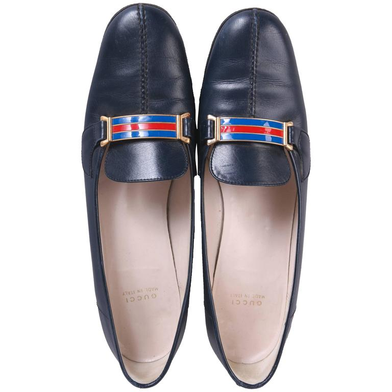 1970's Gucci Navy Leather Loafers Heels w/GoldTone &Racer Stripe Enamel Hardware