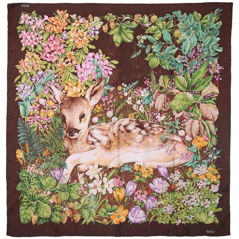 Vintage Gucci 100% Silk Scarf Featuring a Baby Deer Fawn Framed by Flowers For Sale