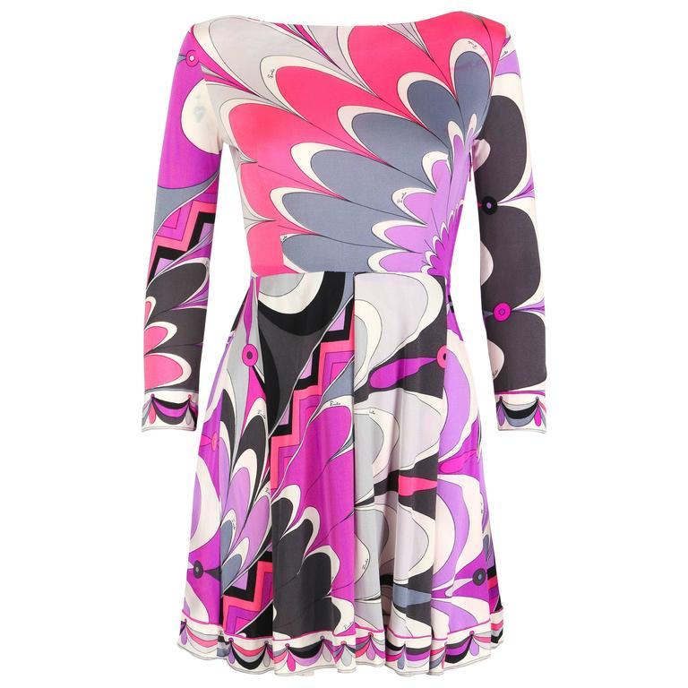 EMILIO PUCCI c.1960's Purple Pink Multicolor Sunburst Floral Print Silk Dress
