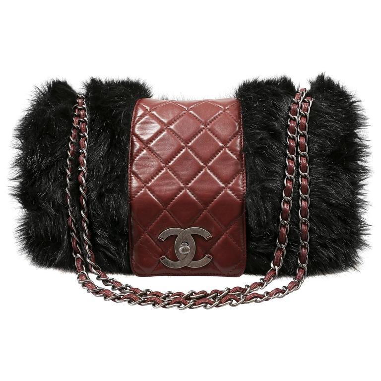 Chanel Bordeaux Fur Arctic Flap Bag 1