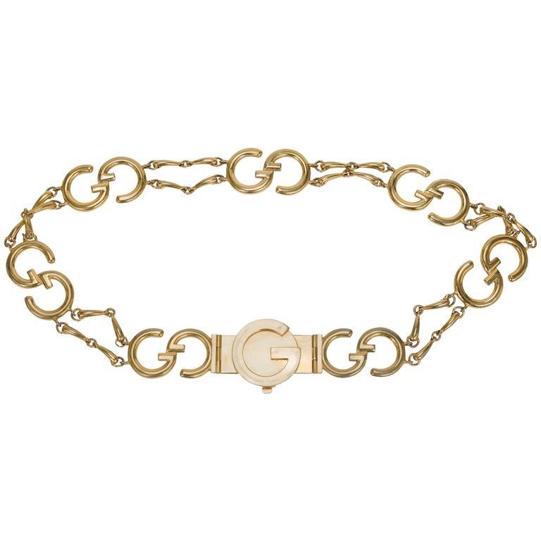 1970's Gucci Goldtone GG Logo Metal Linked Belt