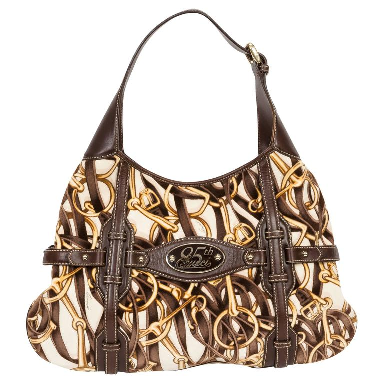 Gucci 85th Anniversary Velvet & Leather Hobo Bag w/Horsebit Print & Leather Trim