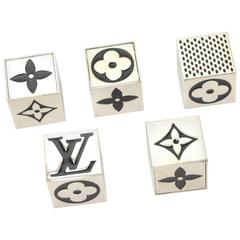 Louis Vuitton Black x Silver Tone Cube Dice Game Set - 2011 Limited