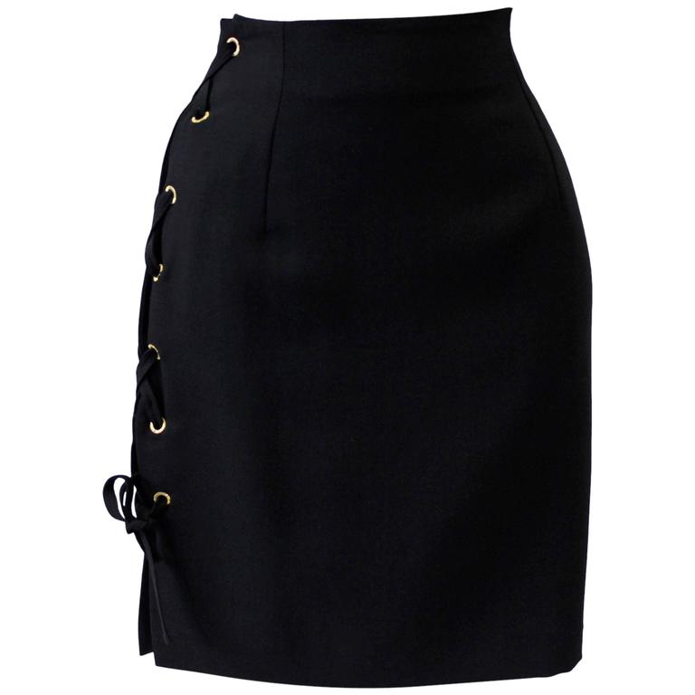 Istante By Gianni Versace Skirt With Lace-Up Detailing Fall 1992