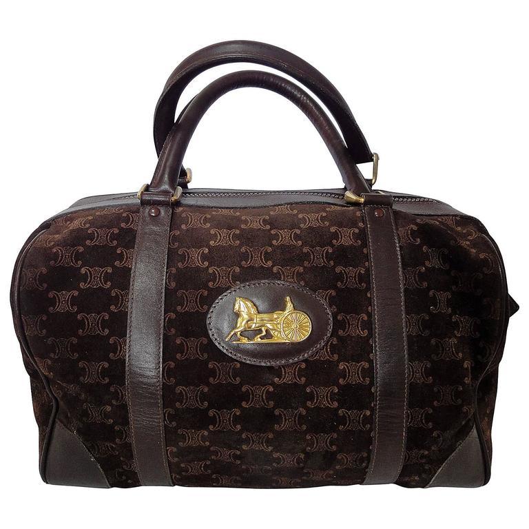 Vintage Celine genuine dark brown suede leather mini duffle, speedy type handbag For Sale