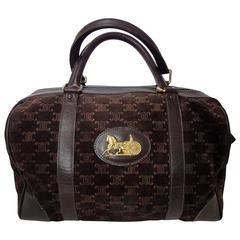 Vintage Celine genuine dark brown suede leather mini duffle, speedy type handbag
