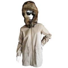 Saint Laurent Rive Gauche 1970's Tan Jacket with Furl Trim Hood